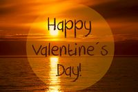 Romantic Ocean Sunset, Sunrise, Text Happy Valentines Day