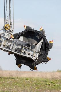 Opencast brown coal mine. Bucket wheel excavator.