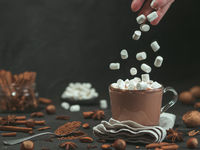 Marshmallows falls in hot chocolate cacao cup