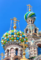 Colorful domes of Church of the Savior on Spilled Blood