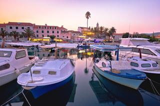 Vela Luka on Korcula island waterfront evening view