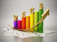 Rising arrow and chart with dollar, euro, pound and yen symbols. 3D illustration