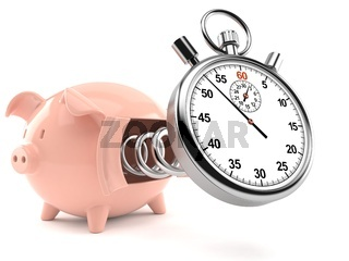 Piggy bank with stopwatch