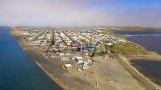 Aerial View Top of the World Whale Bone Arch Barrow Utqiagvik Alaska