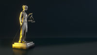 beautiful brass Lady Justice figure with law sign