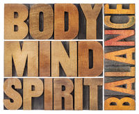 body, mind and spirit balance - word abstract