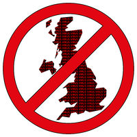 Great Britain silhouette with the word virus in prohibitory sign