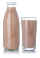 Chocolate milk shake milkshake glass and bottle isolated on white