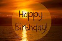Romantic Ocean Sunset, Sunrise, Text Happy Birthday