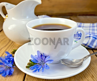 Chicory drink in white cup with milkman on board