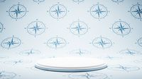 Empty White Platform on Compass Pattern Studio Background