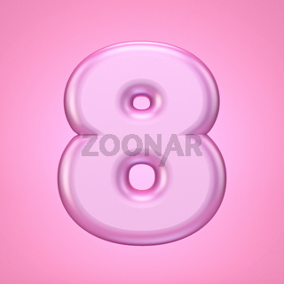 Pink font Number 8 EIGHT 3D