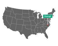 Raleigh Ortsschild und Karte der USA - Raleigh city limit sign and map of USA