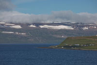 Beautiful view and landscape of icelandic fjord that is surrounding village of Isafjordur in Iceland