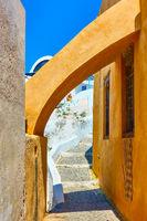 Side street in Oia village in Santorini