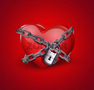 red heart in chains