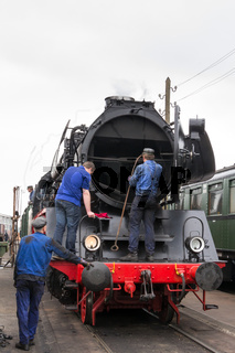 Vintage black steam locomotive train