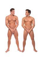 Nude handsome men full-length isolated shot