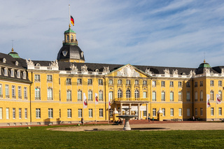 View on Main Entrance of Castle Karlsruhe with Square and Garden. In Karlsruhe, Baden-Württemberg, Germany
