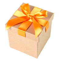 Gift box with bow insulated in front of white