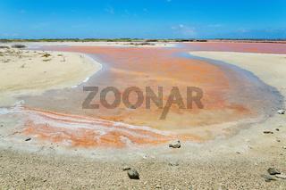 Landscape with orange salt lake on island Bonaire