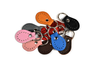 Blank round color leather key chain collection on isolated white background