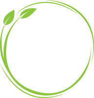 green round plant and leaves icon, eco friendly symbol with copy space in center
