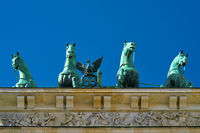 Quadriga at the Brandenburg Gate in Berlin with cloudless sky seen from below