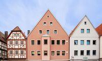 Facades of houses in a European town