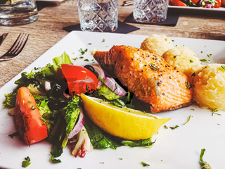 Grilled salmon, mashed potatoes and salad for lunch