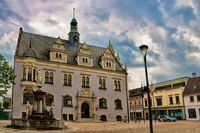 Schönebeck, Germany - 06/20/2020 - old town hall and market fountain