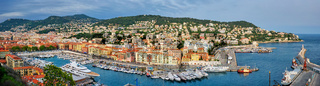 Panorama of Old Port of Nice with yachts, France
