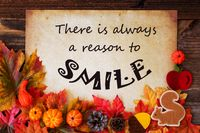Old Paper With Quote Always Reason To Smile, Colorful Autumn Decoration