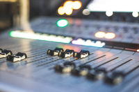 Sound recording studio mixer desk: professional music production