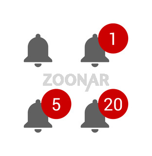 Grey bells with red round message alerts, chat or subscribe notifications for video blog, smm icons set, flat style vector illustration.