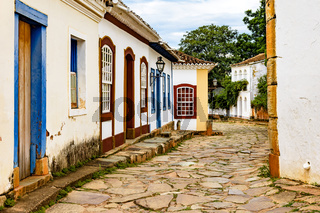 Street in colonial architecture with stone paving in Tiradentes city