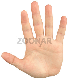 Close-up image of mans hand give a palm hand gesture