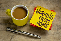working from home note with coffee
