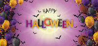 Happy Halloween Header Balloons Bats Fullmoon