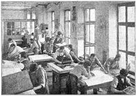 Printing presses for lithography. Illustration of the 19th century. White background.