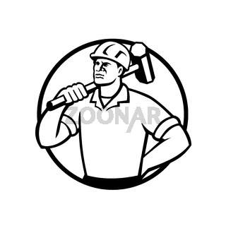 Demolition Worker with Sledgehammer Circle Retro Black and White