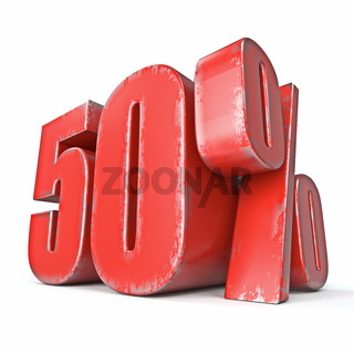 Metal red colored grunge 50 percent sign 3D