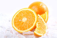Fresh oranges and ice