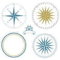 Set of nautical symbols, compass rose