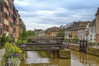 Half-timbered houses and canal in Petite France, Strasbourg, France