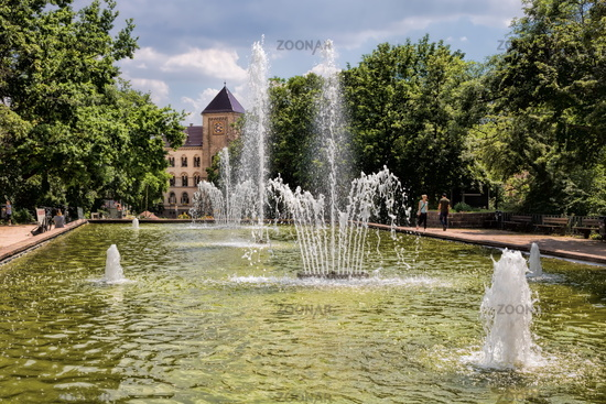 Halle Saale, Germany - 17.06.2019 - Fountain in the park at the opera house