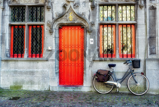 Bicycle outside a Property in Market Square Bruges