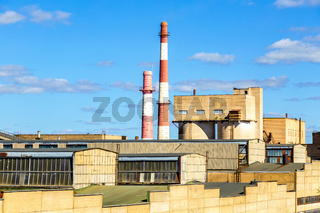 Large industrial plant with big chimneys