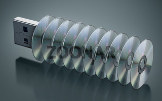 USB pen drive with stacked discs isolated on black background. 3D illustration