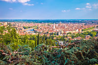 City of Verona old center and Adige river panoramic view from hill